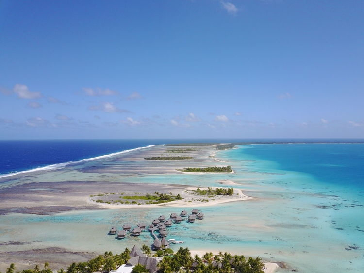 French Polynesia Island Beauty In Nature Blue Sky No People Travel Destinations Lost In The Landscape Vacations Landscape Nature Beach Blue Tikehau Tourism High Angle View