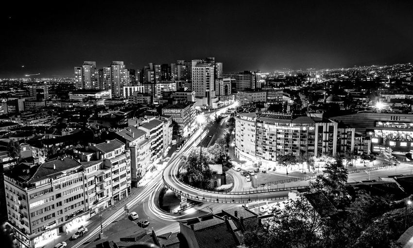 Tophaneden Bursa Blackandwhite Photography Blackandwhite Nightphotography Gece Tophane Architecture Building Exterior Illuminated City Cityscape Night Built Structure High Angle View first eyeem photo EyeEmNewHere