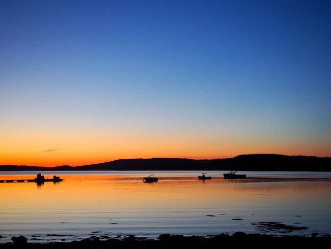 Deer Isle Sunset, Maine Maine Deer Isle Water Sky Sunset Beauty In Nature Scenics - Nature Silhouette Sea Blue Transportation Reflection Nautical Vessel