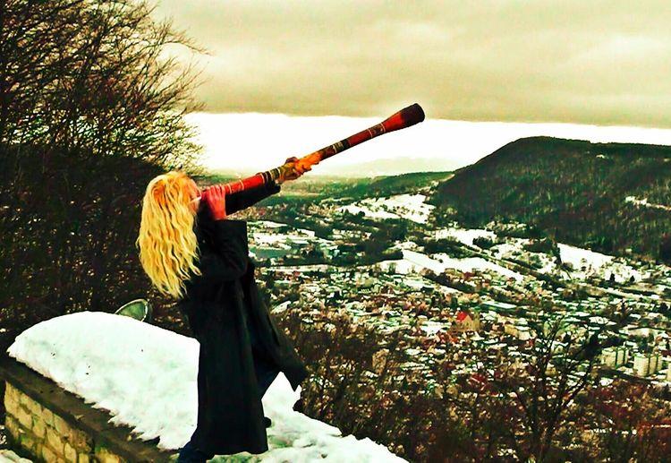 Playing the didgeridoo - Geislingen/Steige Schwäbischealb Nature Didgeridoo Music