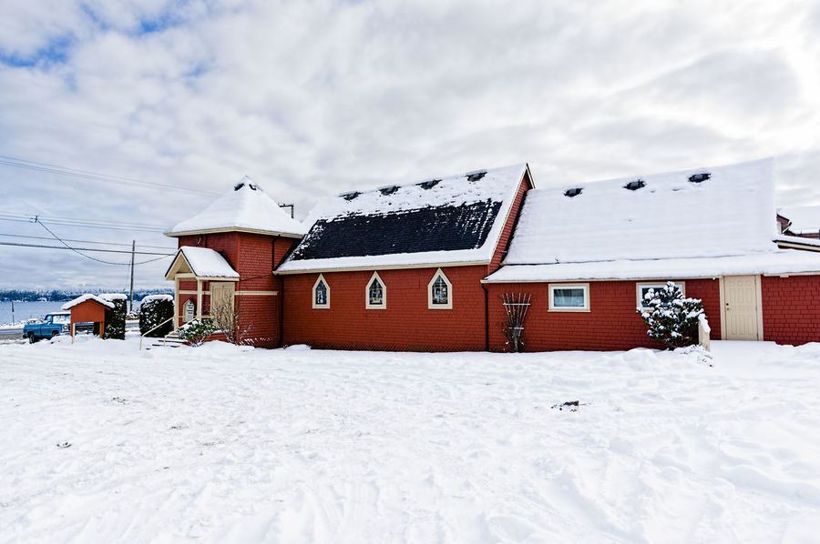 Architecture Building Exterior Built Structure Church Cloud - Sky Cold Temperature Day House No People Outdoors Sky Snow Winter