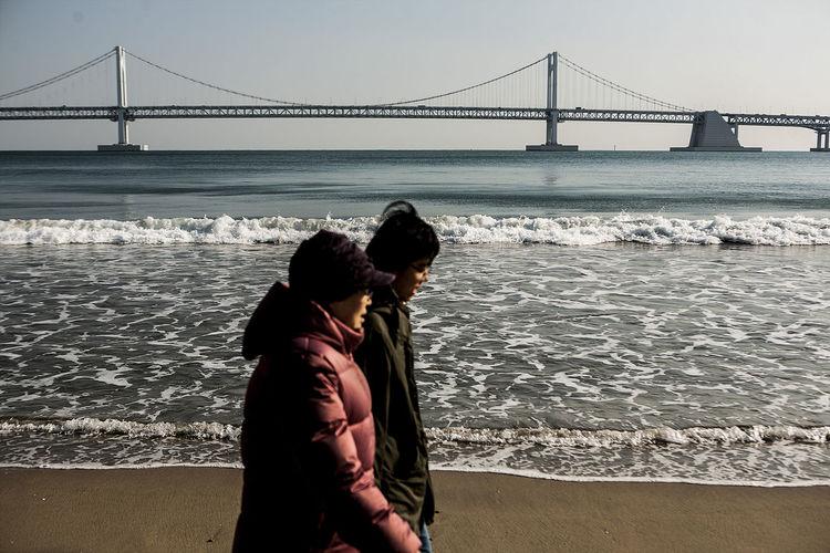 Pusan Coast Walking Walking Gwanganli Gwangandaegyo South Korea Korea Beach Sea