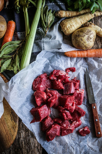 Ingredients for a good Bourguignon Bourguignon Meat! Meat! Meat! Veggie Vegetables Ingredients French Food Food Food And Drink Root Vegetable No People High Angle View Indoors  Kitchen Knife Large Group Of Objects Knife Common Beet Still Life Carrot Raw Food