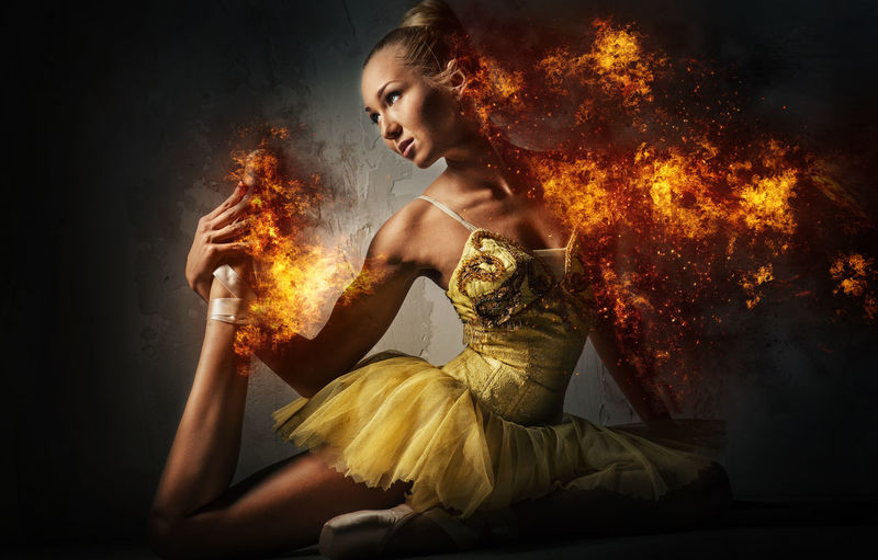 Ballerina in a fire. Digital art Abstract Altered Art ArtWork Beautiful Woman Blaze Creative Digital Art Digitally Generated Effect Female Fiery Fire Flame Graphic Heat Model People Radiant Woman