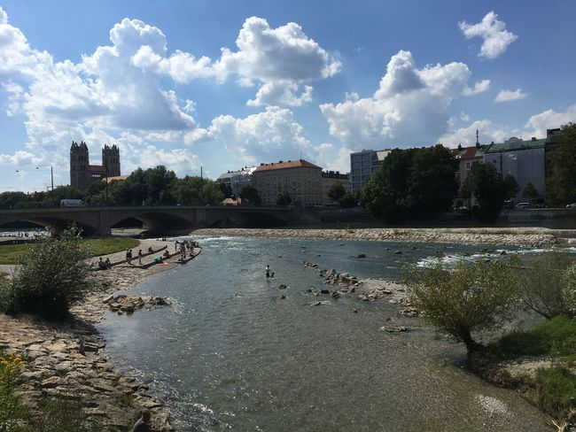 Sommer an der Isar in München Hot Day Summer Isar Water Sky Architecture Building Exterior Built Structure Cloud - Sky Nature City Outdoors River Waterfront Reflection