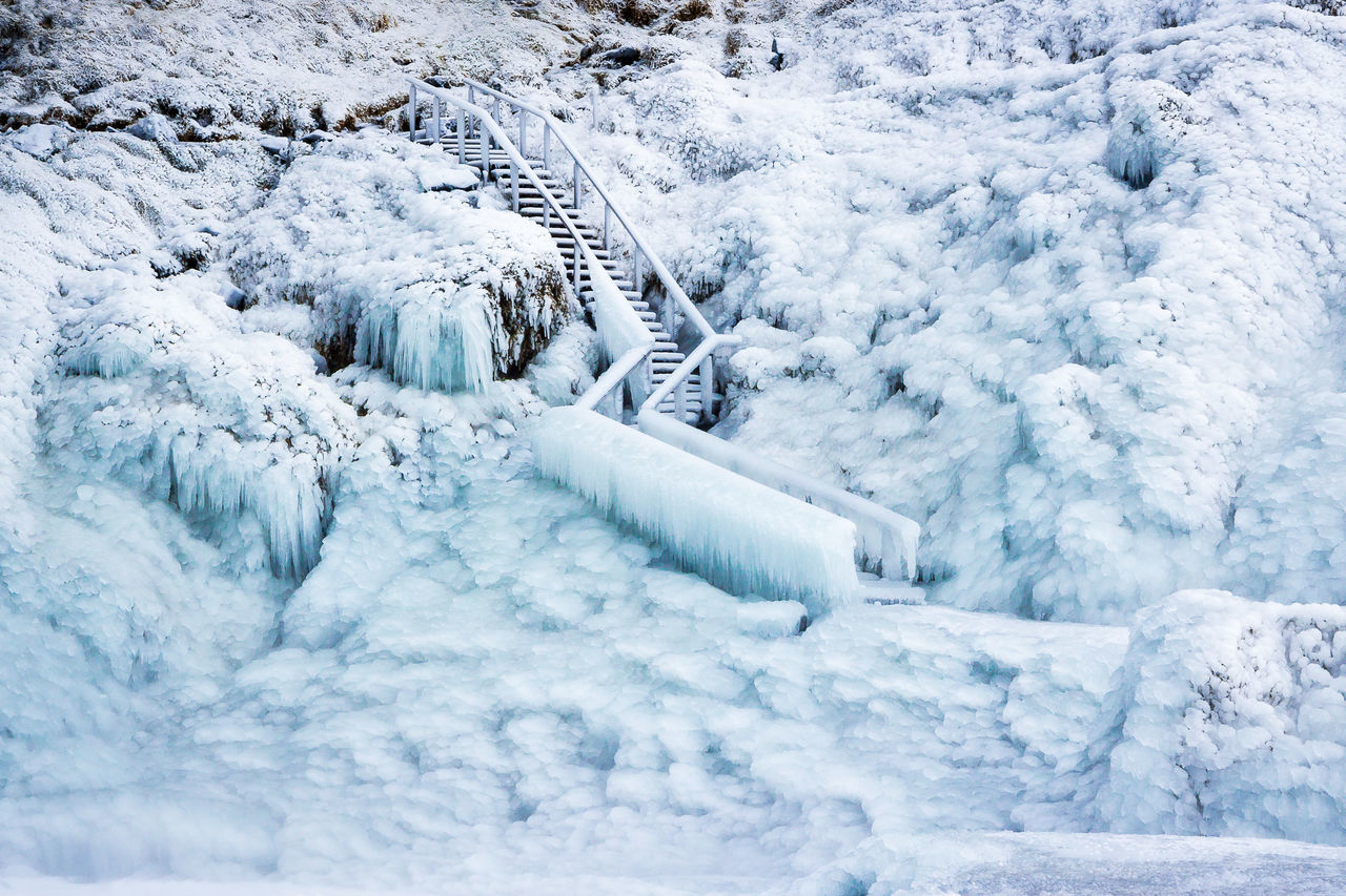 High Angle View Of Frozen Steps During Winter
