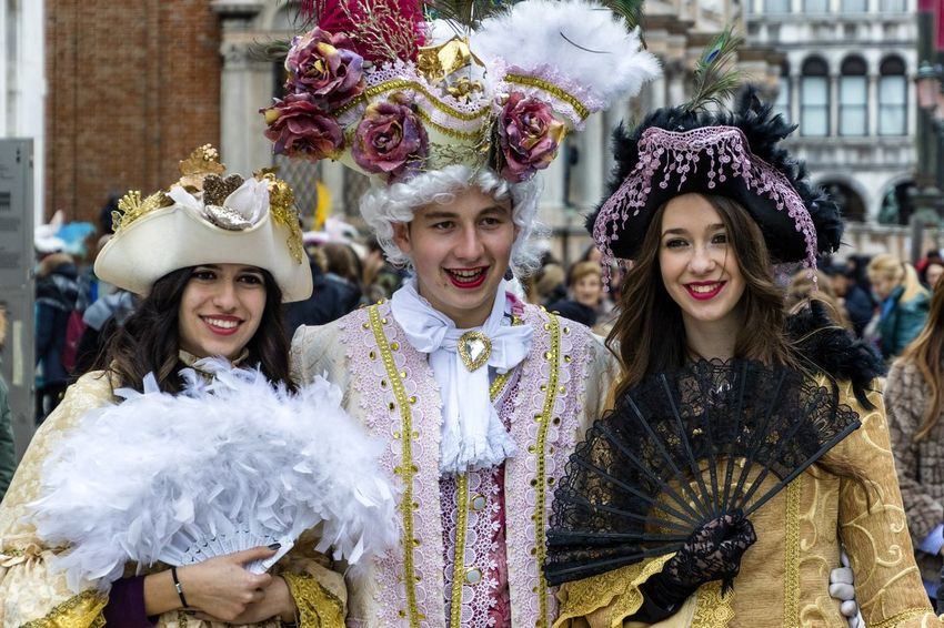 Carnival in Venice 2017 Carnival Disguise Fun Tradition Arts Culture And Entertainment Carnival - Celebration Event Celebration Costume Costumes Enjoyment Feather  Front View Happiness Leisure Activity Lifestyles Looking At Camera Mask Mask - Disguise Performance Performing Arts Event Smiling Stage Costume Tradition Venetian Mask Venice