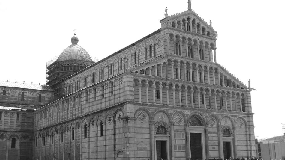 Architectural Feature Architecture Black & White Black And White Building Exterior Built Structure Cathedral Catholic Church City Life Day Dome Exterior Façade Low Angle View No People Outdoors Pisa Pisa Italy Pisa, Italy Sky Tourism Tourist Attraction  Tourist Destination Travel Destinations