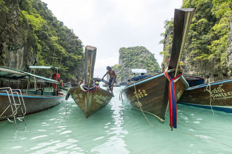 Water Nautical Vessel Transportation Mode Of Transportation Real People Nature Tree Day Waterfront Plant Men Beauty In Nature Sky Lifestyles One Person Incidental People River Non-urban Scene Outdoors Thailand