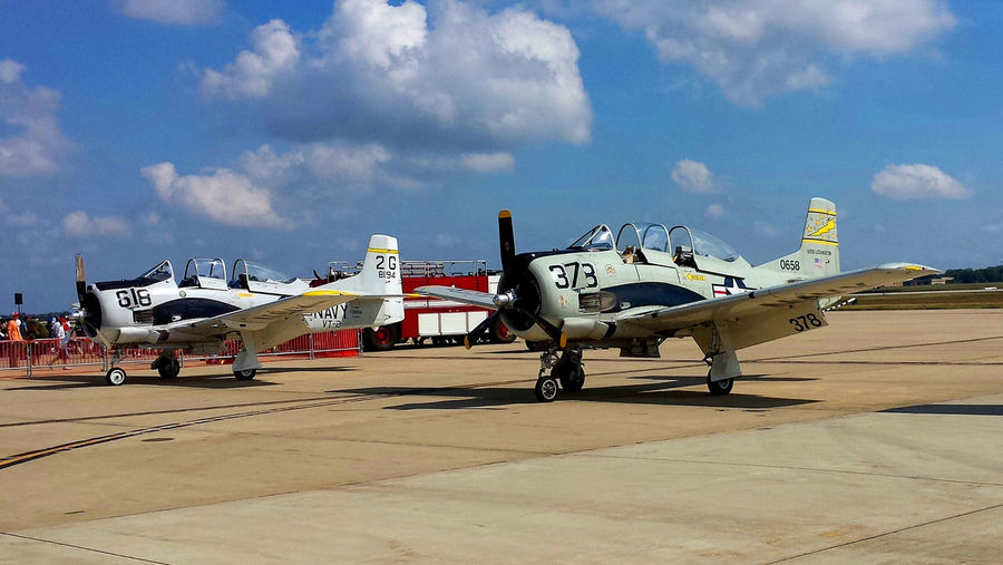 North American T-28s on display at an air show at Andrews AFB, September, 2015. First Eyeem Photo T-28,Vintage Airplanes, Warbird