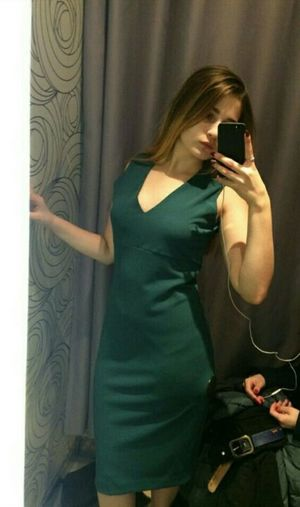 Beautiful Green InCity Kursk Russia Girl Mobile Phone Newdress People Selfie Smart Phone