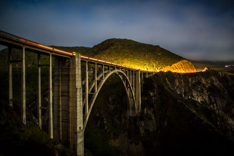 California Arch Arch Bridge Architecture Big Sur Bixby Bridge Bridge Bridge - Man Made Structure Built Structure Cloud - Sky Connection Illuminated Long Exposure Low Angle View Nature Night No People Outdoors Sky Transportation