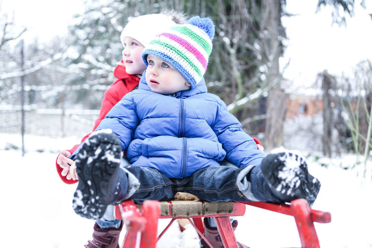 Cute Siblings Sitting On Sled During Winter
