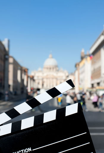 Film Slate Against St Peter Basilica