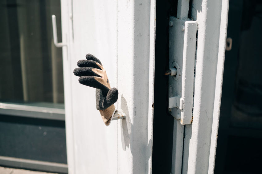 Construction Site Work Working Black Color Close-up Day Door Doorknob Entrance Focus On Foreground Glove Gloves Knob Latch Metal No People One Animal Outdoors Protection Safety Security Window Window Frame Wood - Material The Still Life Photographer - 2018 EyeEm Awards