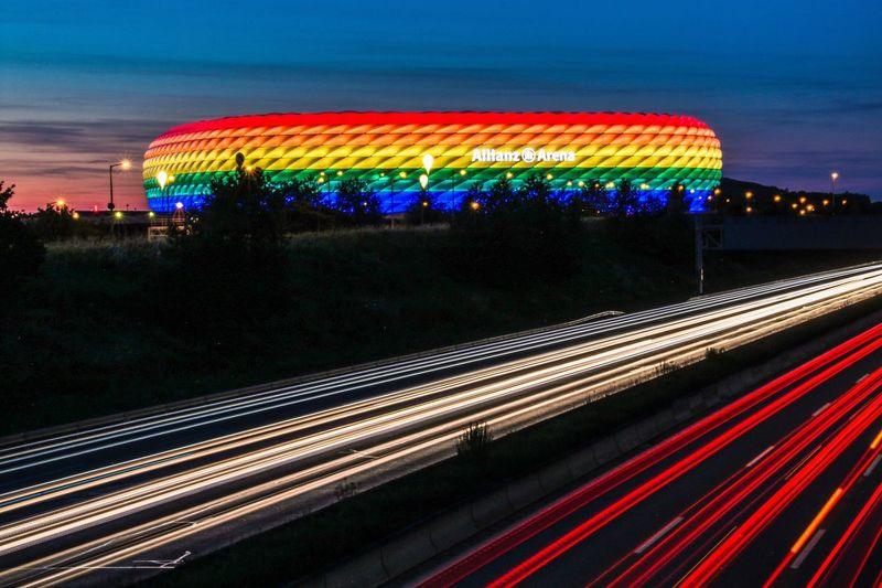 Soccer arena in Munich, Germany Illuminated Speed Long Exposure Transportation Motion Light Trail Night Multi Colored Blurred Motion Traffic No People Sky Outdoors Car Trails