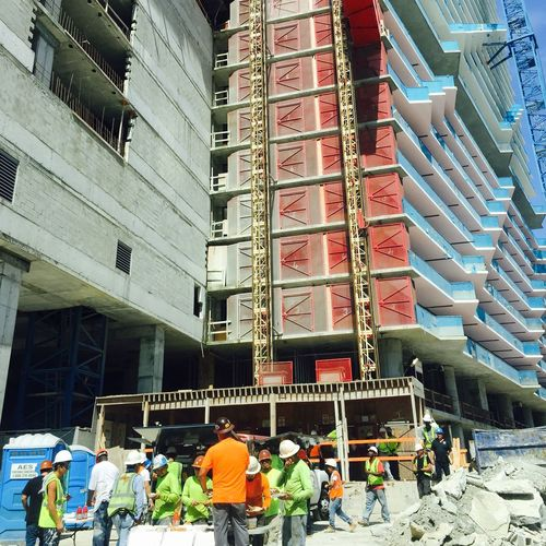 Architecture Architecture Brickell Building Exterior Built Structure City City Life Construction Construction Site Hard Hat Area Hard Hat Crew Hard Hats Men At Work  Miami Miami Under Construction Residential Structure Tall - High Work Working Hard