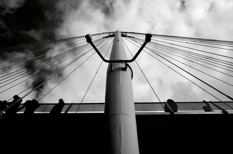 Sky Cloud - Sky Low Angle View Architecture Cable Built Structure Nature Bridge Connection Group Of People Day Outdoors Bridge - Man Made Structure Metal Silhouette Engineering Suspension Bridge Transportation Building Exterior Electricity  Power Supply London