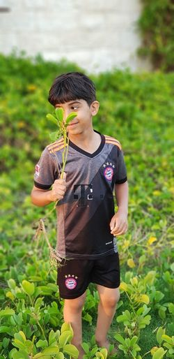 Plant One Person Child Offspring Childhood Nature Front View