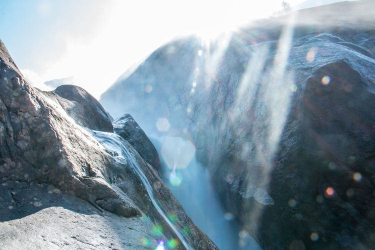 Beauty In Nature Day Mountain Nature No People Outdoors Sky Snow Sunlight Water Waterfall
