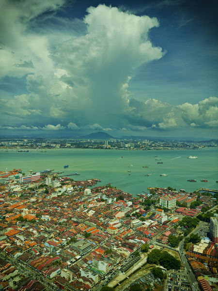View From The Top of The Penang Komtar. Architecture Beauty In Nature Building Exterior City Cityscape Cloud - Sky Day Georgetown Penang Horizon Over Water Komtar View Mountain Nature No People Outdoors Penang Scenics Sea Sky The Top  Tranquility Water