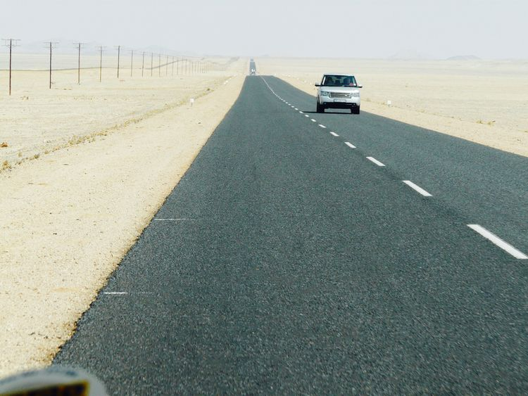 Desert Travel Andventure Asphalt Auto Racing Car Day Driving Land Vehicle Mode Of Transport Range Rover Raodtrip Road The Way Forward Transportation Connected By Travel