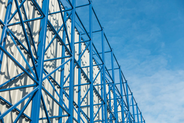 Steel Architecture Blue Built Structure Cloud - Sky Low Angle View Metal Sheet Outdoors Sky Steel Structure  Structure Wall