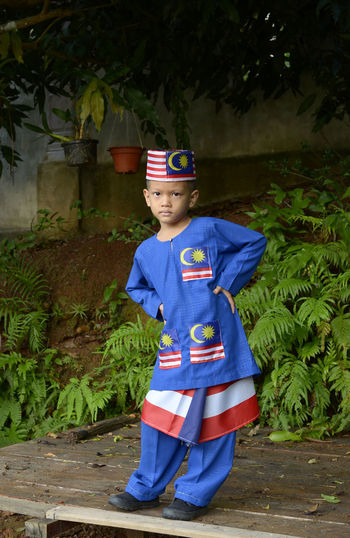 Children Only One Boy Only Dressing Up Child Boys Costume Males  One Person Stage Costume Cute Standing Colour Flag Nation Traditional Costume Malaysia Truly Asia