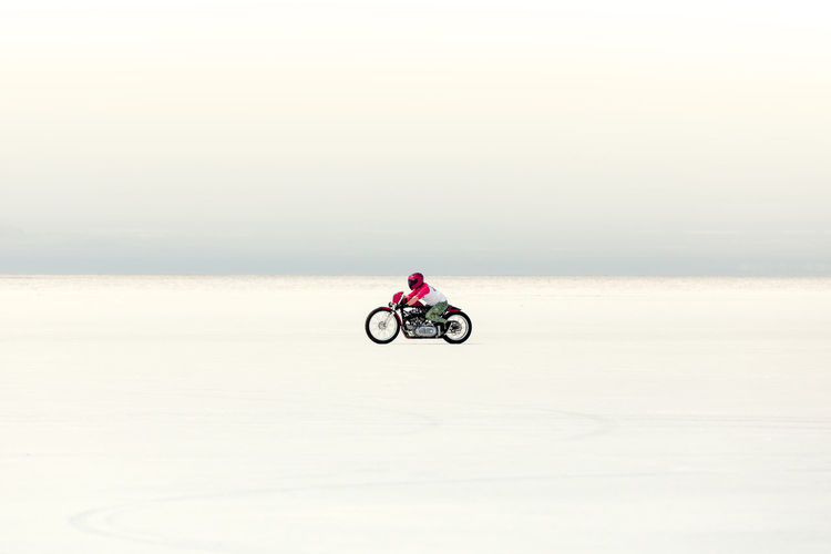 Be Brave Bonneville Salt Flats Motorcycle Activity Bicycle Bonneville Copy Space Day Full Length Horizon Horizon Over Water Leisure Activity Nature One Person Ride Riding Saltflats Scenics - Nature Side View Sky Solitude Speed Sport Transportation Unrecognizable Person Water My Best Travel Photo