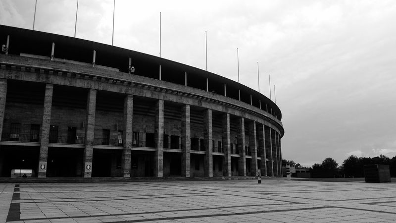 Berlin Architecture Built Structure Outdoors Sky Day No People Travel Destinations Blackandwhite Olympiastadion Olympic Stadium Germany Berlin Love Gigantic Impressive City Of Berlin Pattern Huge Discover Berlin