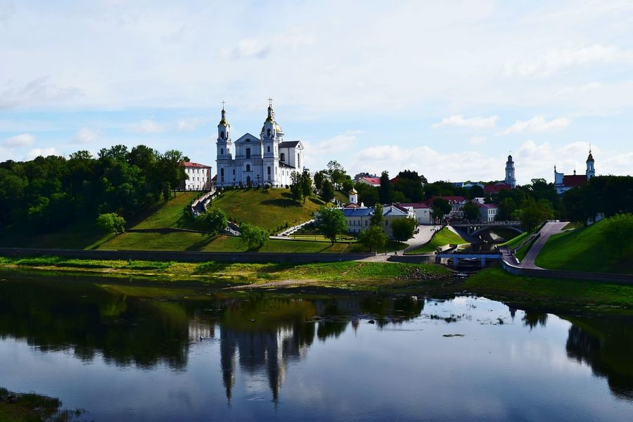 River City View  Citylife City Collection City Colours Outdoors Day Reflection Water Cloud - Sky No People Churches Clear Sky Summer Architecture City Center Reflections In The Water Reflections And Shadows Reflections In Water Reflection Photography City Photography City Photography City Streets City Architecture Enjoying The View Vitebsk,Belarus