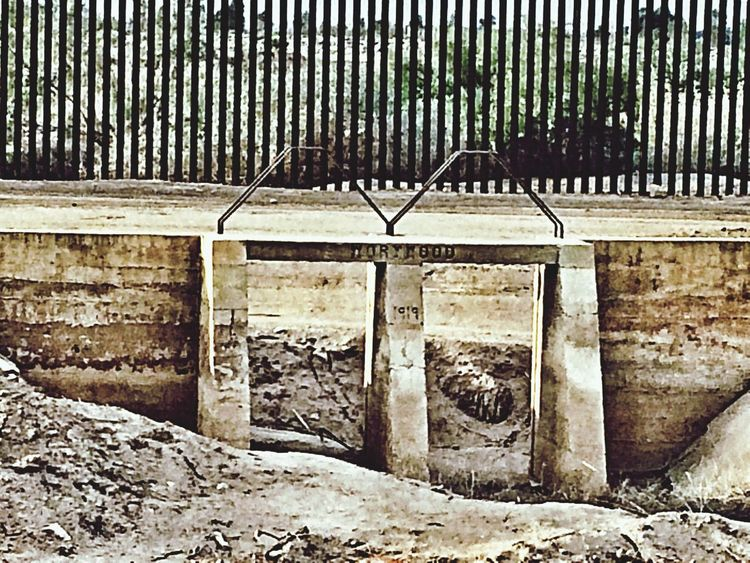 Old canal gate at US-Mexico border.