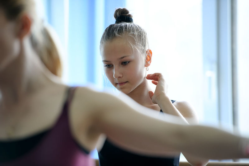 Ballet dancer practicing at ballet studio