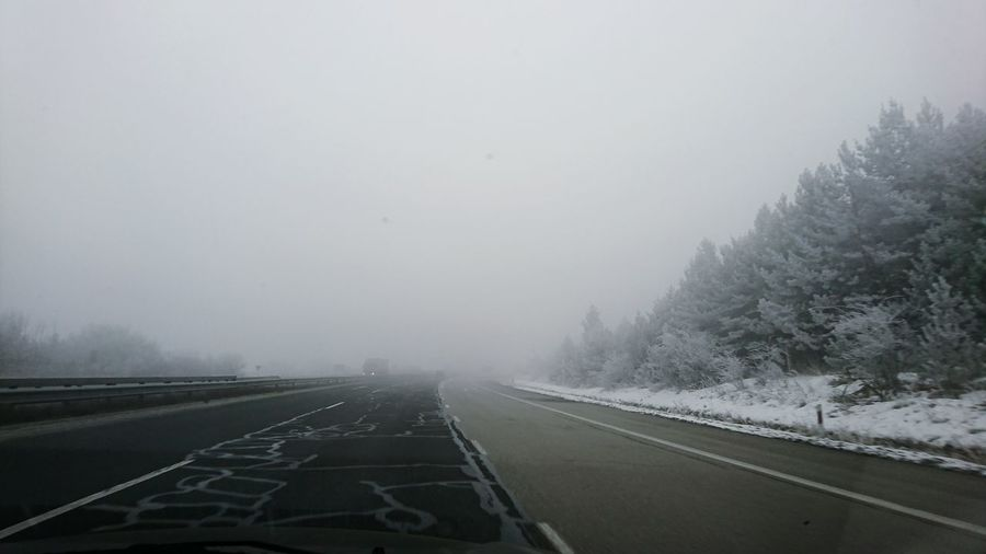 Motorway Highway Motorway Travel Winter Icy Road Creepy Fog Foggy Road Snow Ice Scary Bułgaria Cold Temperature No People Outdoors