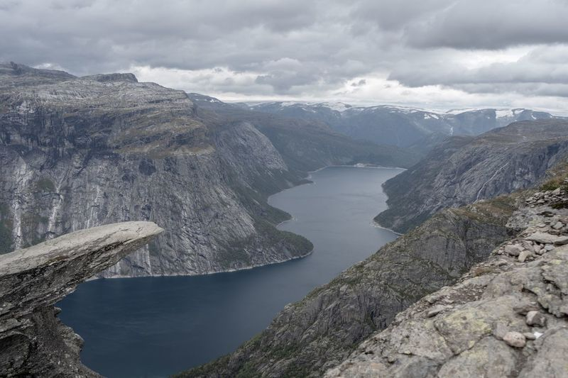 First time without tourist? Trolltunga Trolltunganorway Water Cloud - Sky Beauty In Nature Scenics - Nature Tranquil Scene Tranquility Sky Mountain Nature Lake No People Idyllic High Angle View Outdoors Rock