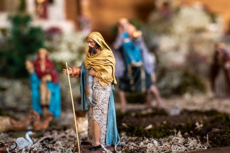 Close-up of nativity scene
