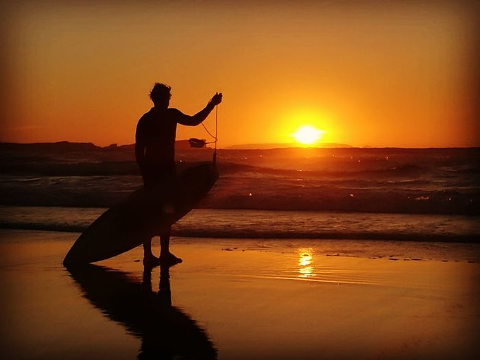 Sunset Silhouette Orange Color Reflection One Person Water Men Sun Only Men People Adult One Man Only Sunlight Nature Landscape Tranquility Surf Surf Photography Baleal Portugal The Week On EyeEm