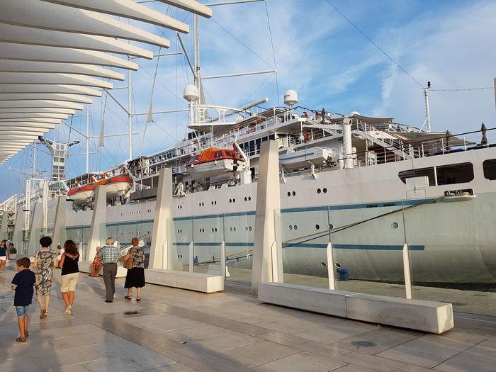 Tourism Day Malaga Harbour Fishbone Malaga Spain Cloud - Sky Puerto De Malaga Town Vessel Ship