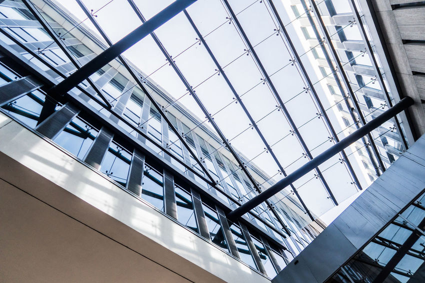 Modern architecture in Maastricht Architecture Building Atrium Built Structure Ceiling Day Futuristic Indoors  Low Angle View Modern Netherlands No People Shopping Mall