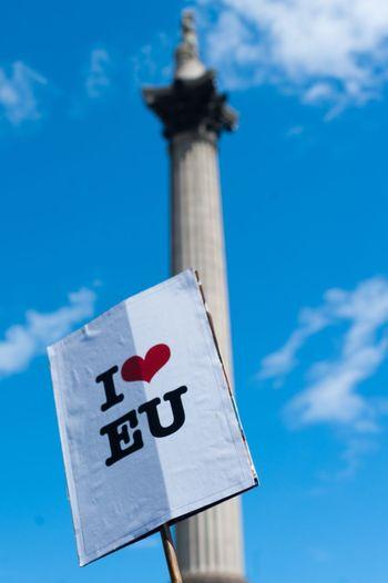 I heart EU. Campaigner at protest against brexit in London Brexit Eu Referendum Protest March Campaign Nelsons Column Trafalgar Square Remain Britain Britain Referendum Sign