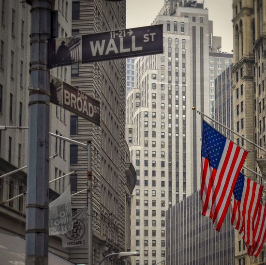 New york wallstreet flag and street sign