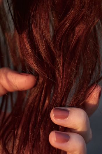 Cropped hand of woman holding red hair