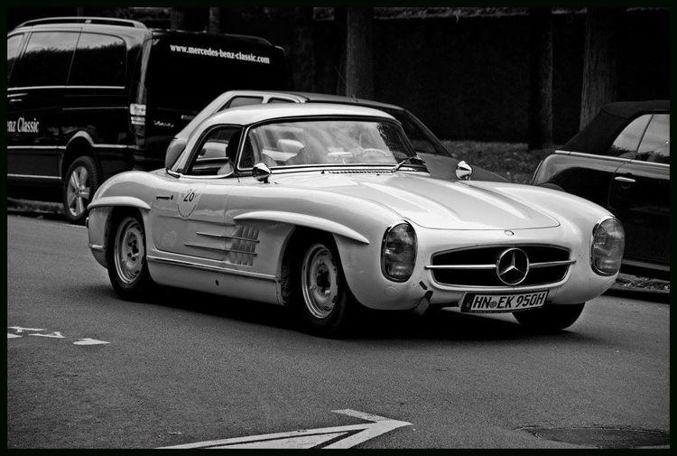 Vintage car on road in city
