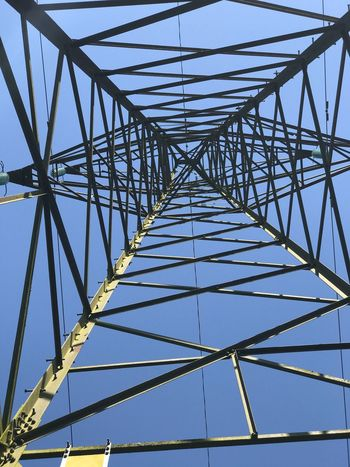 Built Structure Sky Metal Architecture Low Angle View Connection No People Electricity Pylon Electricity  Power Supply Clear Sky Blue