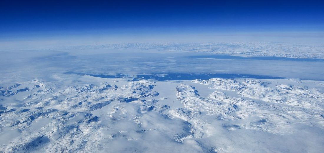 Baffin Island Winter Snow Cold Temperature Beauty In Nature Blue Nature Environment Landscape Tranquility Scenics - Nature White Color Tranquil Scene No People Sky Aerial View Day Non-urban Scene High Angle View Outdoors Snowcapped Mountain