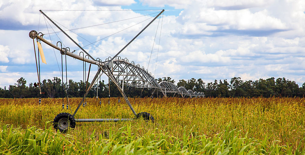 Agriculture Australia Outback Agricultural Machinery Cloud - Sky Corn Cornfield Day Field Grass Irrigation Equipment Manufacturing Equipment Nature No People Oil Pump Outdoors Sky Waterpump