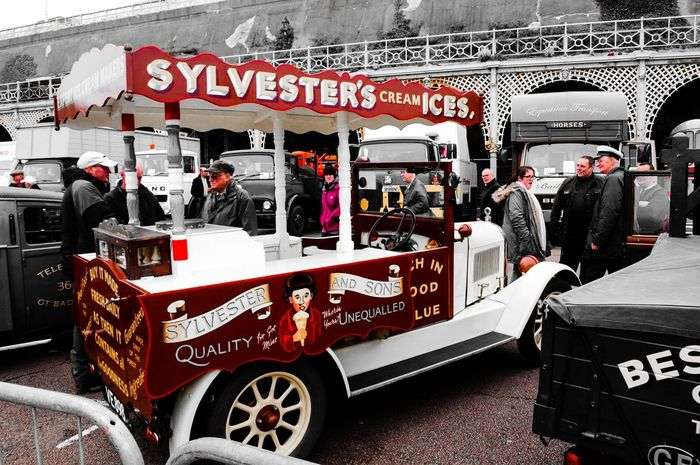 Seaside ice cream Ice Cream Time Commercial Land Vehicle Old Times London To Brighton Old Commercial Exploring Edit Text Communication Store Day No People Outdoors