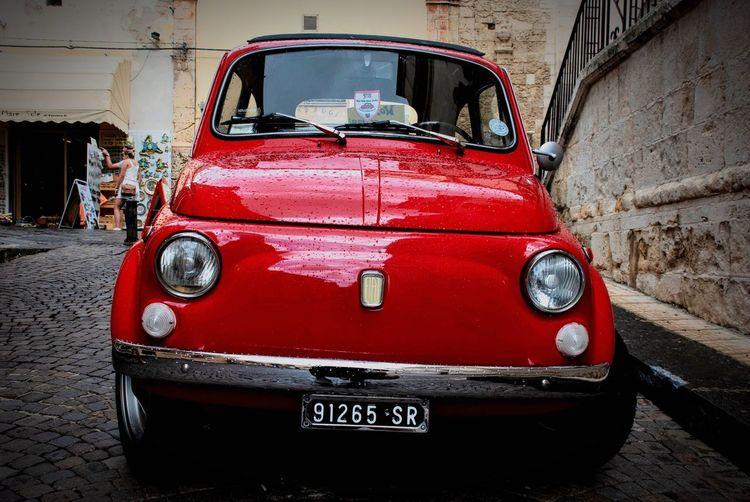 Retro Fiat Fiat500 Classic Car Typical Italy Italian Sicily Sicilia Oldtimer Mode Of Transportation Red Transportation Land Vehicle Car Motor Vehicle City Old Road