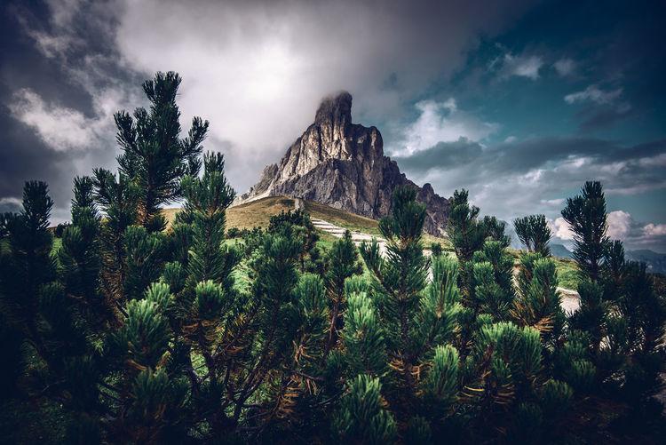Ra gusela peak at giau pass, dolomites unesco