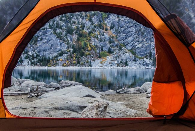 Waking up with a view. Colchuck Lake, the Enchantments, Washington State Adventure Arch Beauty In Nature Camping Exploring Lake Lake View Nature Naturelovers Non-urban Scene Pacific Northwest  Quiet Remote Scenics Tent Tranquil Scene Travel Destinations View Water Window